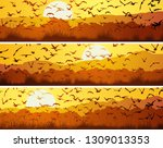 set of horizontal banners with... | Shutterstock .eps vector #1309013353