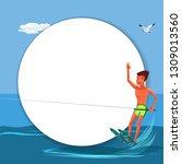 brunette tanned man waterskiing ... | Shutterstock .eps vector #1309013560