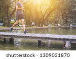 runner man running on wood... | Shutterstock . vector #1309021870