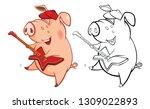 illustration of a cute pig... | Shutterstock . vector #1309022893