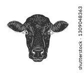 cow calf bull s head isolated... | Shutterstock .eps vector #1309048363