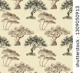 olive trees seamless pattern   Shutterstock .eps vector #1309050913