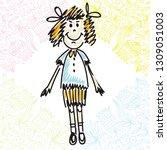 cute cartoon girl. vector...   Shutterstock .eps vector #1309051003