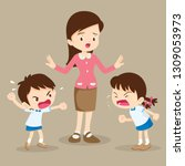 angry child.teacher tried to... | Shutterstock .eps vector #1309053973