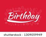 happy birthday typography... | Shutterstock .eps vector #1309059949