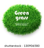 oval green grass banner. vector ... | Shutterstock .eps vector #130906580