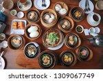 chinese stuffed bun  steamed... | Shutterstock . vector #1309067749