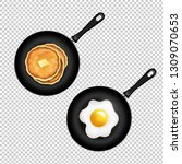 pan with pancake and fried eggs ... | Shutterstock . vector #1309070653