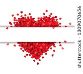 red heart isolated with banner  | Shutterstock . vector #1309070656
