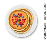 plate with pancake isolated... | Shutterstock .eps vector #1309070680