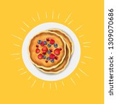 pancakes with fresh berry with... | Shutterstock .eps vector #1309070686