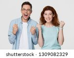 excited happy young family... | Shutterstock . vector #1309082329
