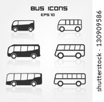 set of different bus icons | Shutterstock .eps vector #130909586