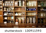 bottles on the shelf in old... | Shutterstock . vector #130911593