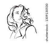 fashion girl sketch hand drawn. ... | Shutterstock .eps vector #1309130530