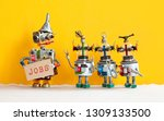 three robots want to get a job... | Shutterstock . vector #1309133500