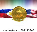 bitcoin with usa flag and... | Shutterstock . vector #1309145746