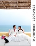 in love bride and groom are...   Shutterstock . vector #130914638