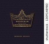 monogram in shape of a crown.... | Shutterstock .eps vector #1309148980