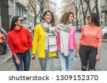 four beautiful young cheerful... | Shutterstock . vector #1309152370