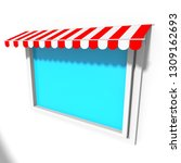 red awning sunshade over closed ...   Shutterstock . vector #1309162693