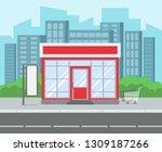 street shop. retro grocery... | Shutterstock .eps vector #1309187266