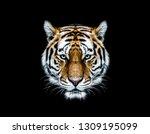 wild tiger head wallpaper with...   Shutterstock . vector #1309195099