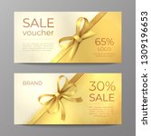 luxury voucher card. golden... | Shutterstock .eps vector #1309196653
