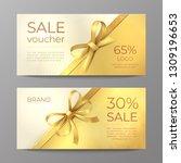 luxury voucher card. golden... | Shutterstock .eps vector #1309196653