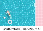 woman floating in the pool with ...   Shutterstock .eps vector #1309202716