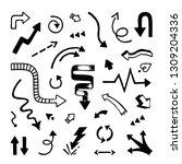 arrows hand drawn. doodle... | Shutterstock .eps vector #1309204336