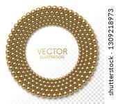 golden balls arranged in circle ... | Shutterstock .eps vector #1309218973