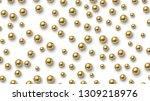golden balls scattered on white ... | Shutterstock .eps vector #1309218976