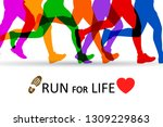 slogan run for life. sportsman... | Shutterstock .eps vector #1309229863