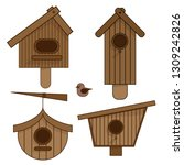 wooden birdhouses. set of... | Shutterstock .eps vector #1309242826