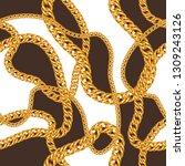 seamless pattern with golden... | Shutterstock .eps vector #1309243126