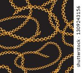seamless pattern with golden... | Shutterstock .eps vector #1309243156