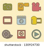 video icons over beige... | Shutterstock .eps vector #130924730