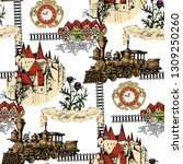 pattern of vintage train and... | Shutterstock .eps vector #1309250260