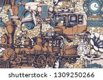 pattern of vintage train and... | Shutterstock .eps vector #1309250266