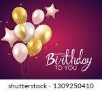 glossy happy birthday balloons...   Shutterstock .eps vector #1309250410