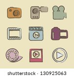 video icons over beige... | Shutterstock .eps vector #130925063