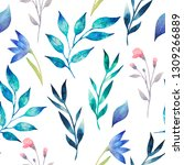 Seamless watercolor texture. Different colored twigs, leaves, flowers on a white background. Hand drawn
