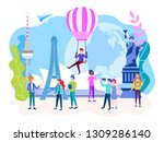 travel concept. tourists walk ... | Shutterstock .eps vector #1309286140