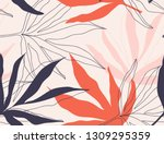 modern exotic jungle plants... | Shutterstock .eps vector #1309295359