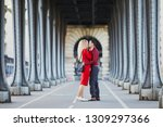 romantic couple in love kissing ... | Shutterstock . vector #1309297366