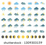 weather icons set | Shutterstock . vector #1309303159