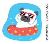 cute lovely dog on inflatable... | Shutterstock . vector #1309317223