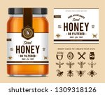 honey glass jar mockup with... | Shutterstock .eps vector #1309318126