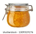 mandarin jam in glass jar... | Shutterstock . vector #1309319176